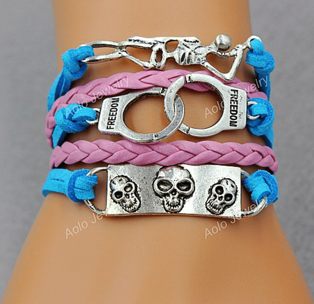 Free Biker Jewelry: Skulls-Cuffs-Skeleton Leather Bracelet - Shirt Loft