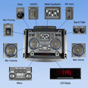 Shier Sound DJ Party Karaoke Portable Speakers System with LED Lights D10 - Simtek World