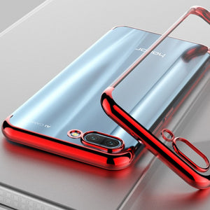 TPU Edge Plating Shockproof Bumper Slim Clear Case Cover for Huawei Honor 10 (Red)