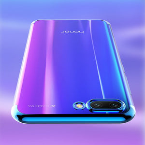 TPU Edge Plating Shockproof Bumper Slim Clear Case Cover for Huawei Honor 10 (Blue)