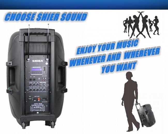Shier Sound Wireless Speaker System Woofer and Tweeter for DJ Disco Party Karaoke ak15302 - Simtek World