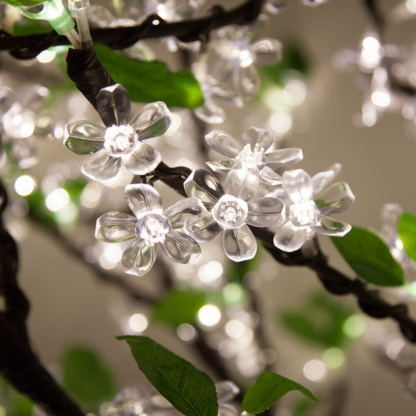 White LED Cherry Blossom Branches with Leaves