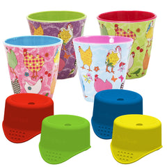 Hen rice cup collection with four SafeSips