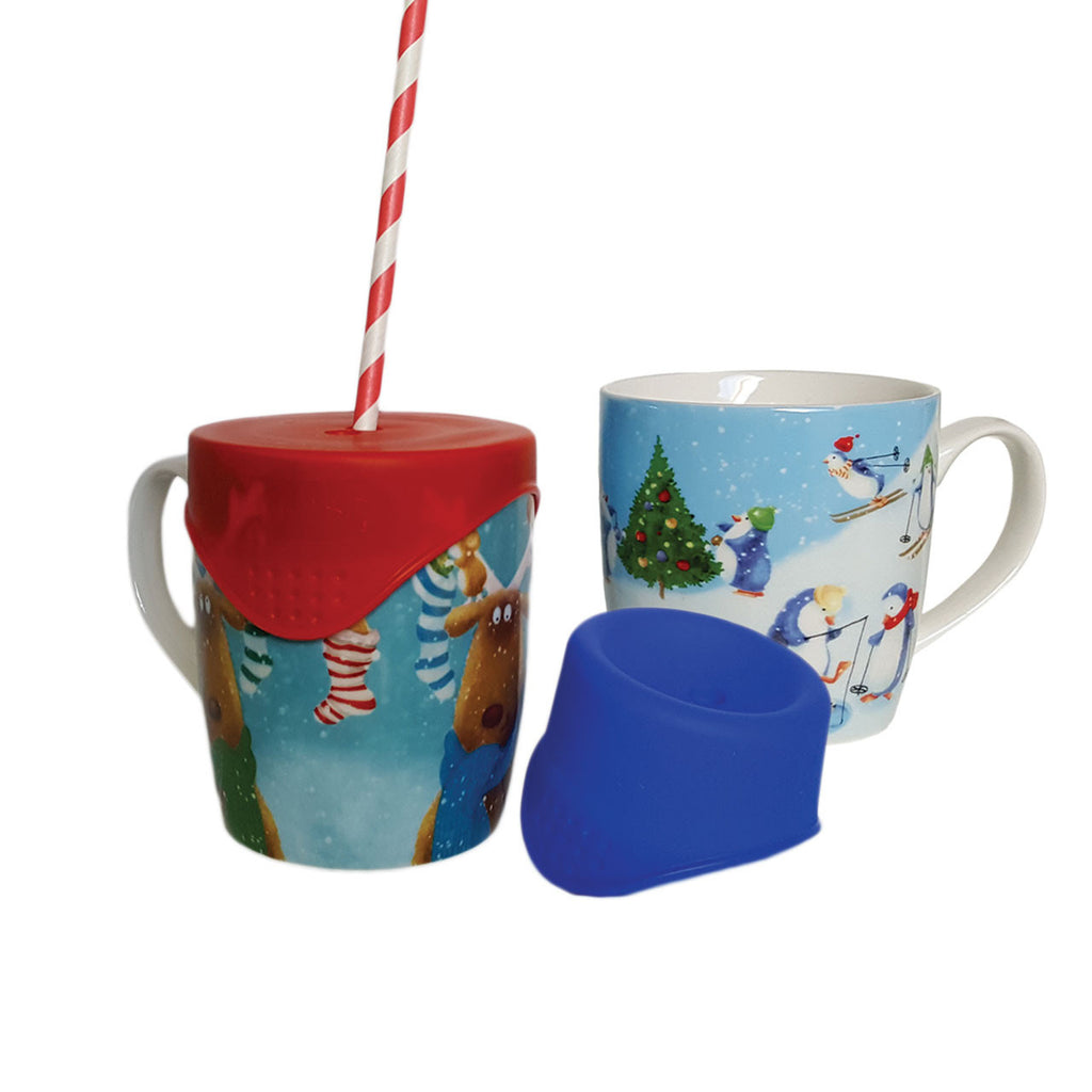 Christmas Mugs Pack - 2 SafeSips and 2 Limited Edition Bone China Mugs