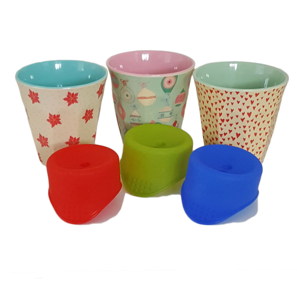Christmas Pack - 3 Christmas Patterned Rice Cups and three SafeSips