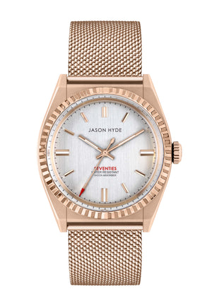 #UNO Mesh Silver Dial + Rose Gold IP Case
