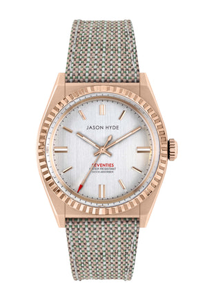JH10006 #UNO Vegan, Silver dial , Rose Gold IP case