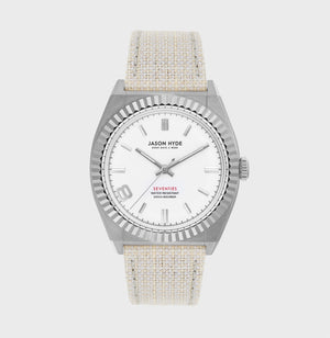 JH20014 #EIGHT Stainless Steel Body , white dial, organic strap, 36MM