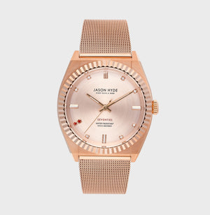 JH20006 RUBY EIGHT , Rose gold body, rose gold dial with 2 red stones and 7 CZ, rose gold mesh bracelet 36MM