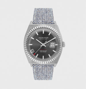 JH30001 I HAVE A DATE Stainless steel body, Dark grey dial, grey organic strap 40MM
