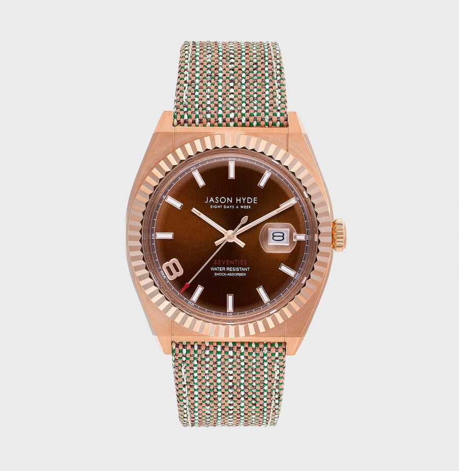 JH30002 I HAVE A DATE , Rose gold IP body, Brown dial, brown organic strap 40 MM