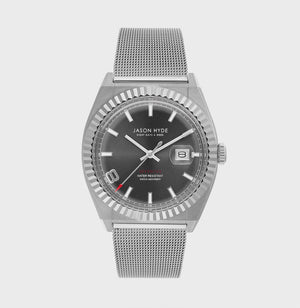 JH30004 I HAVE A DATE Stainless steel body, dark grey dial, mesh bracelet 40 MM
