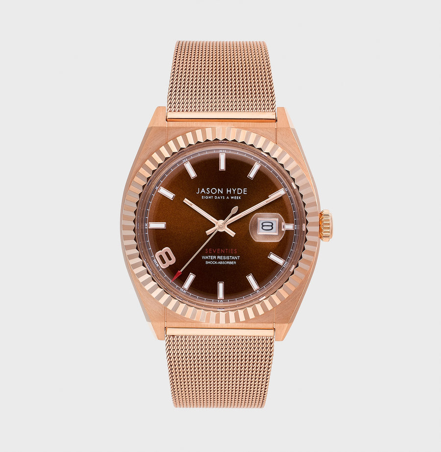 JH30005 I HAVE A DATE Rose Gold IP body, Brown dial , Rose Gold IP Mesh bracelet, 40 MM