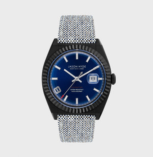JH30006 I HAVE A DATE Black IP body, Blue dial, Grey organic strap 40 MM