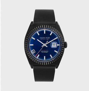 JH30007 I HAVE A DATE Black IP body, Blue dial , Black IP Mesh Bracelet 40 MM