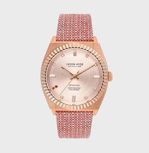JH20003 RUBY EIGHT ROse gold IP body, rose gold dial with 2 red stones and 7 cz, red organic strap 36 MM