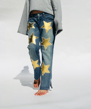 Gold Leather Stars Straight Jeans