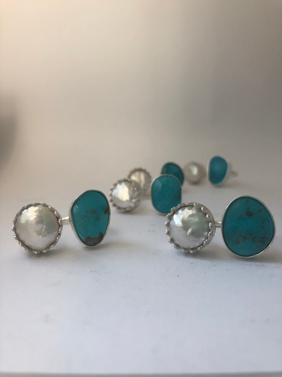 Turquoise and Pearl Duet Rin
