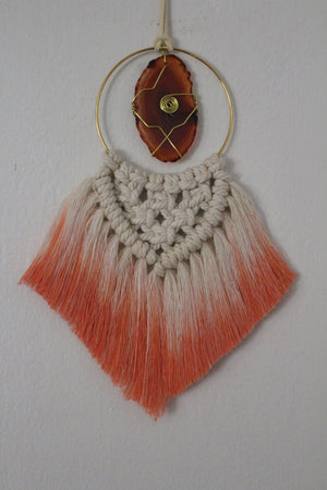 Macrame Agate Slice Car Charms