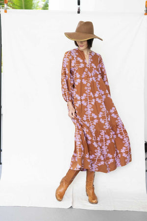 * NEW * block-printed landscape dress