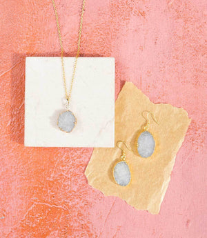 Rishima Natural Druzy Drop Necklace