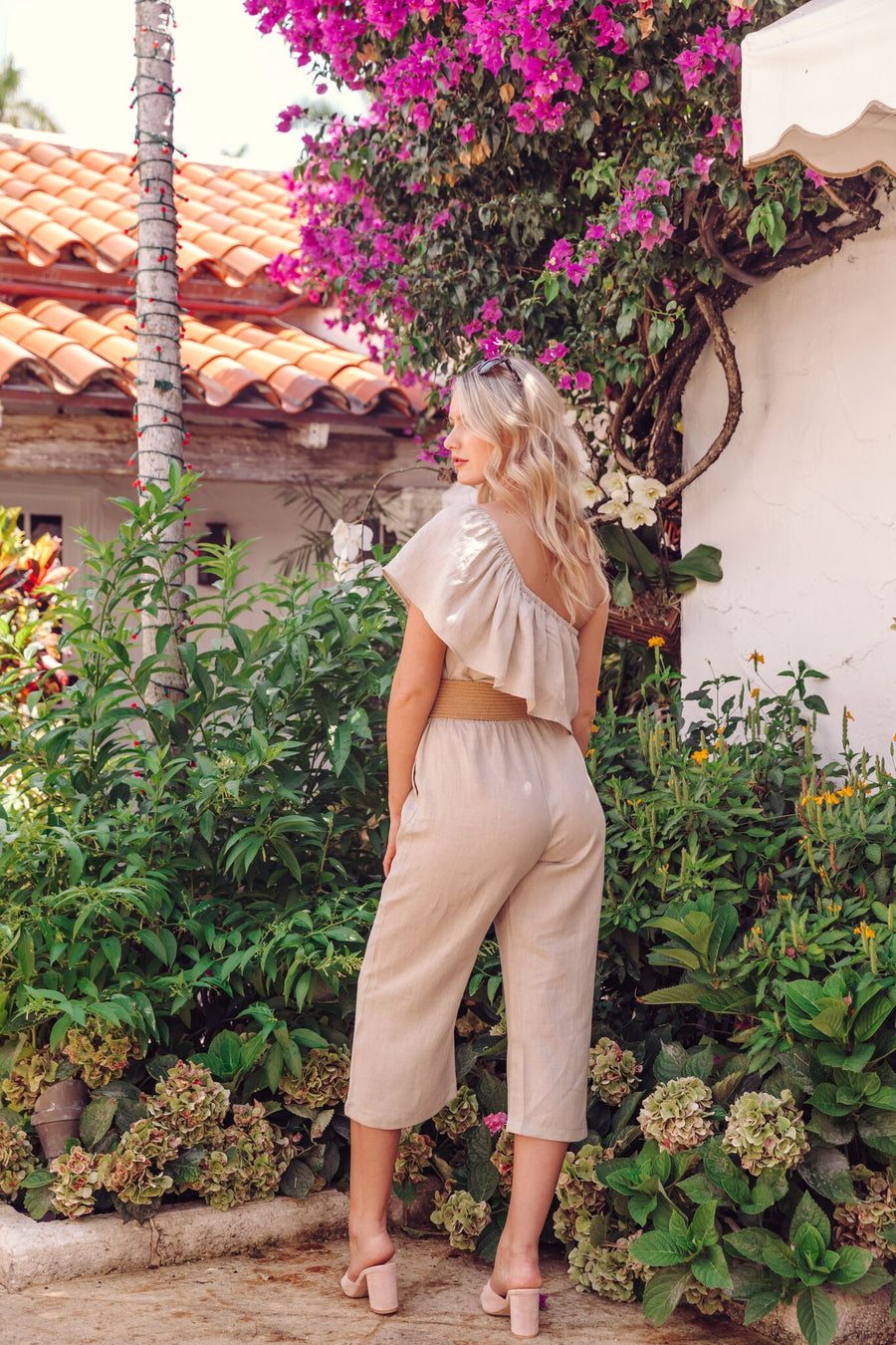 Azalea One Shoulder Linen Jumpsuit