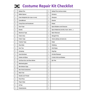 Costume Repair Kit Checklist