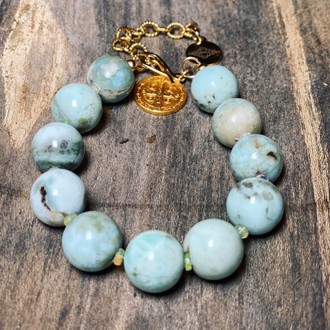 14MM Larimar and Ethiopian Opal Bracelet
