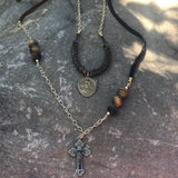 Men's Snake Vertebrae Necklace pictured with Zaimukensyu's Tiger's Eye Necklace