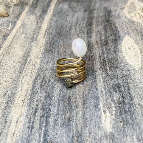 14K GF Pearl and Pyrite Spiral Ring