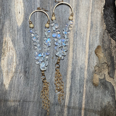 14K GF Rainbow Moonstone Chandelier Earrings