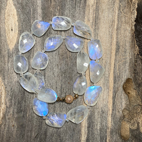 14K Clasp Rainbow Moonstone Nugget Necklace