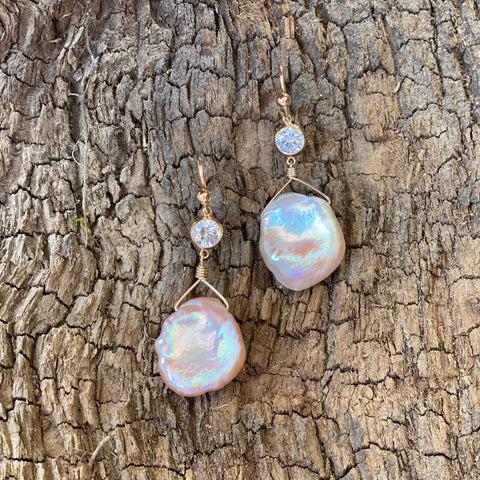14K GF CZ Keshi Pearl Earrings