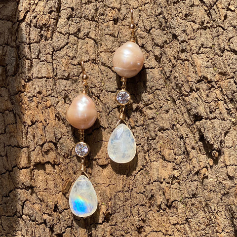Capri Pink Pearl, Rainbow Moonstone and CZ Earrings