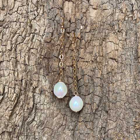 Single White Pearl Drop Earrings
