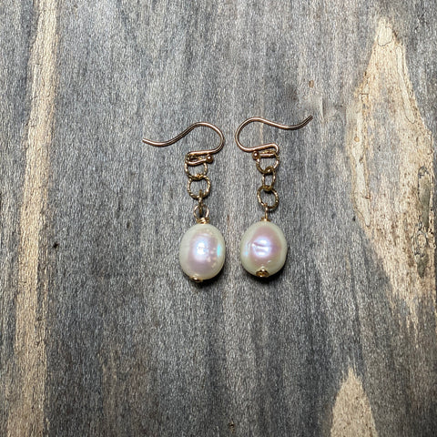 14K GF Freshwater Pearl Drop Earrings