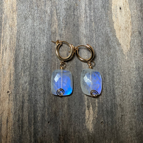 14K GF Rainbow Moonstone Hoop Earrings