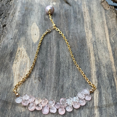 14K GF Morganite and Pink Pearl Necklace