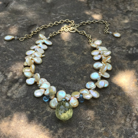 Freshwater Pearl, Citrine, and Blue Topaz Necklace