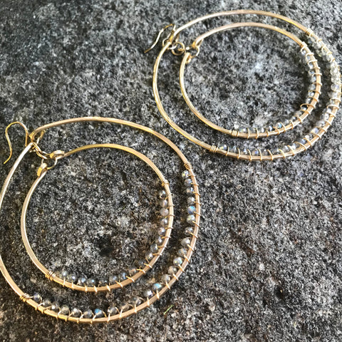 14K GF Heaven and Earth Labradorite Orbiting Hoops