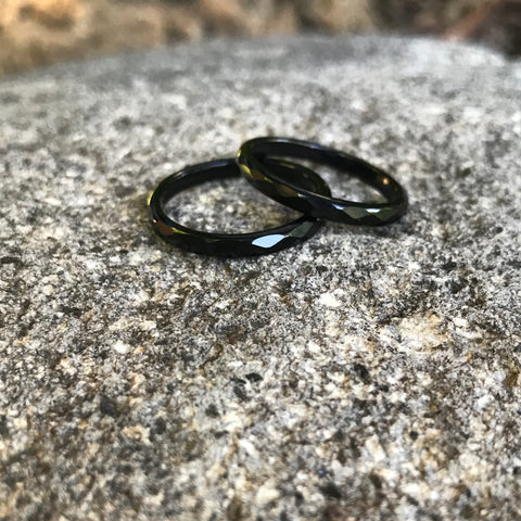 Black Agate Faceted Ring