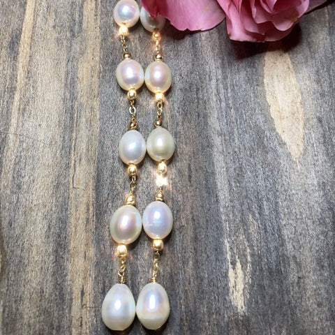 14K GF Bridal Freshwater Pearl Duster Earrings