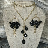 The Stormy 14KGF and Black Spinel Earrings and Necklace