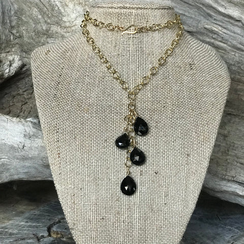 The Stormy 14KGF and faceted Black Spinel Necklace