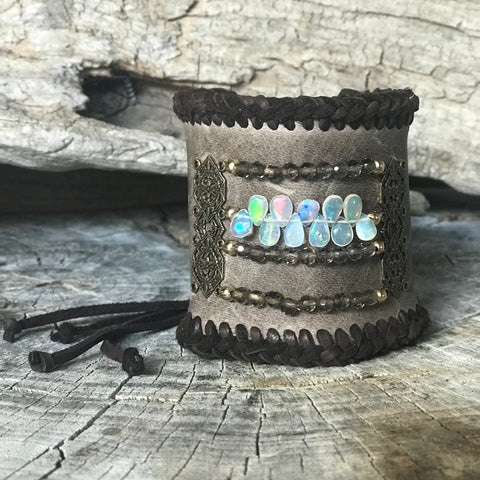 Ethiopian Opal and Smokey Quartz Gemstone Leather Cuff