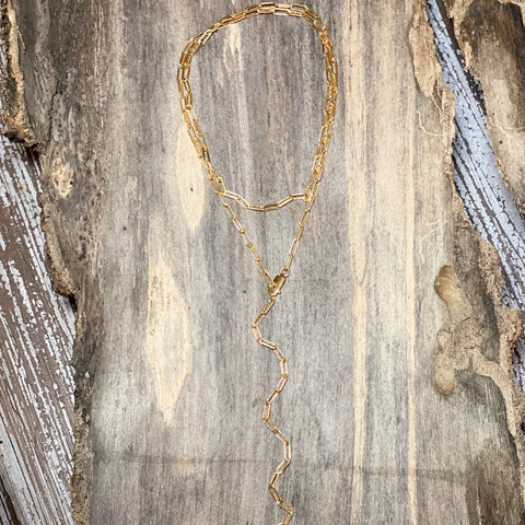 14K GF Paperclip Lariat Necklace
