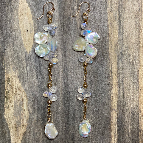 Keshi Pearl and Rainbow Moonstone Earrings