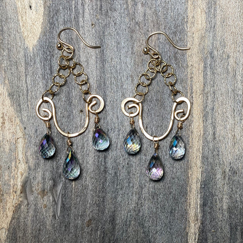 14K GF Mystic Topaz Chandelier Earrings