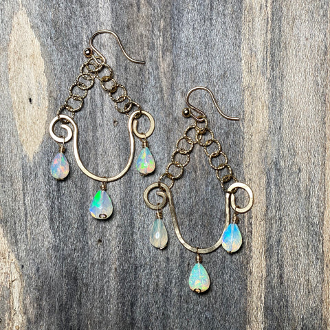 14K GF White Opal Chandelier Earrings