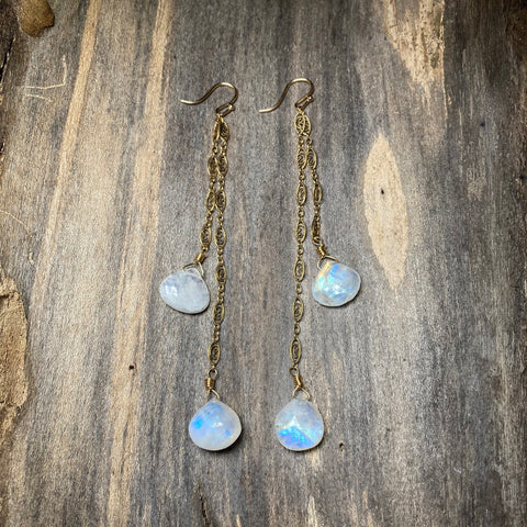 14K GF Moonstone Double Drop Earrings